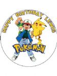 7.5 Personalised Pokemon Pikachu Icing or Wafer Cake Top Topper